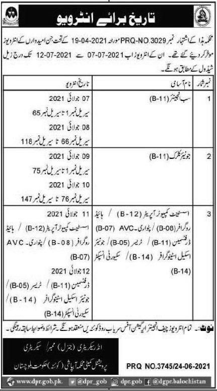 Balochistan Irrigation Department Jobs Interviews 2021