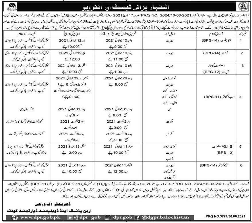 Directorate of Works Urban Planning & Development Jobs 2021
