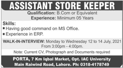 Assistant Storekeeper Job 2021 In Lahore