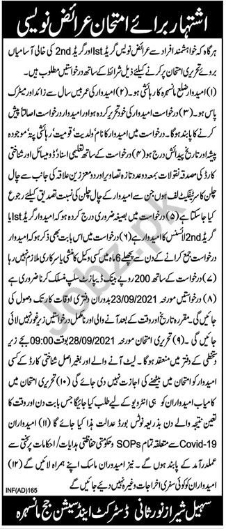 District & Session Court Mansehra Jobs 2021 for Arzi Navees