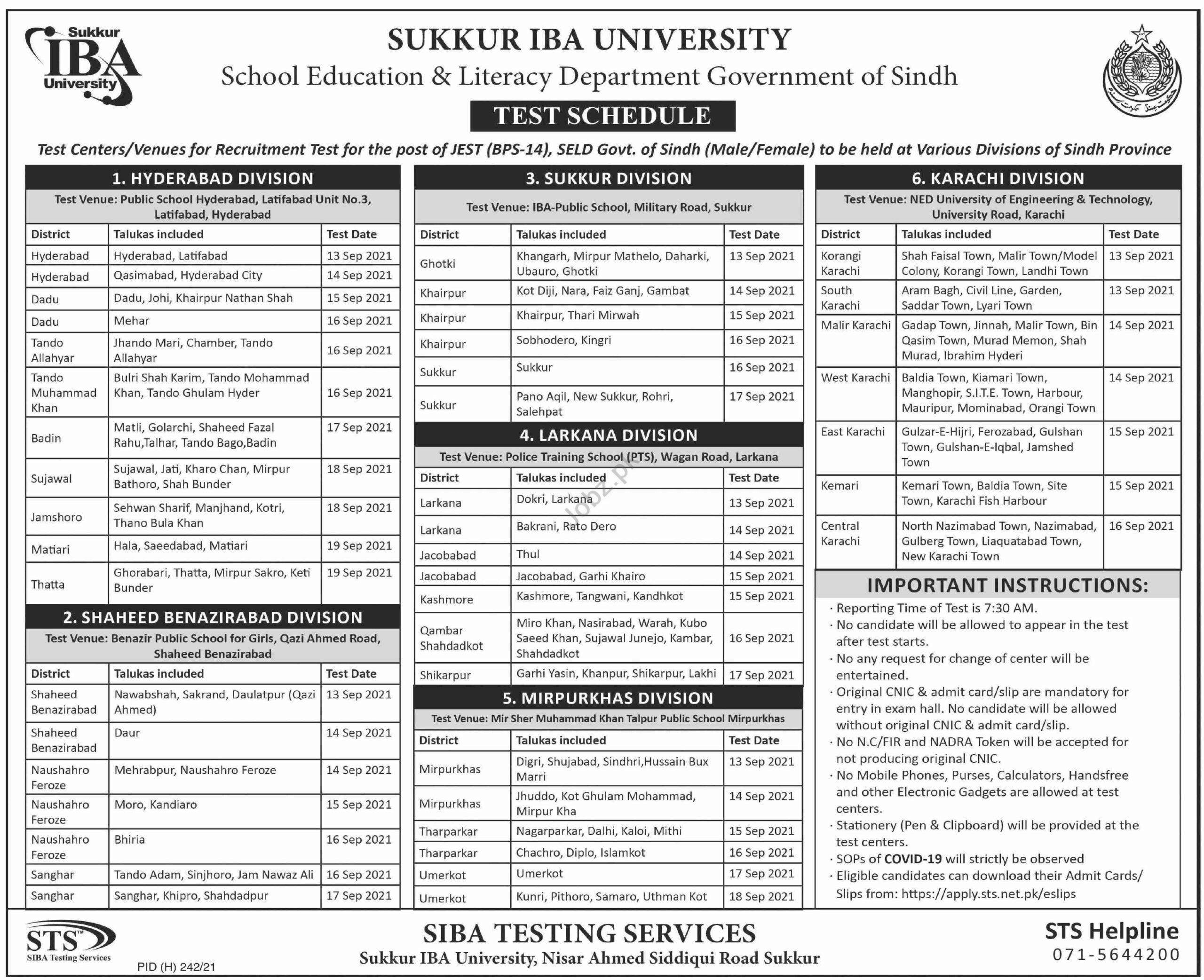 School Education & Literacy Department Sindh Jobs Test 2021