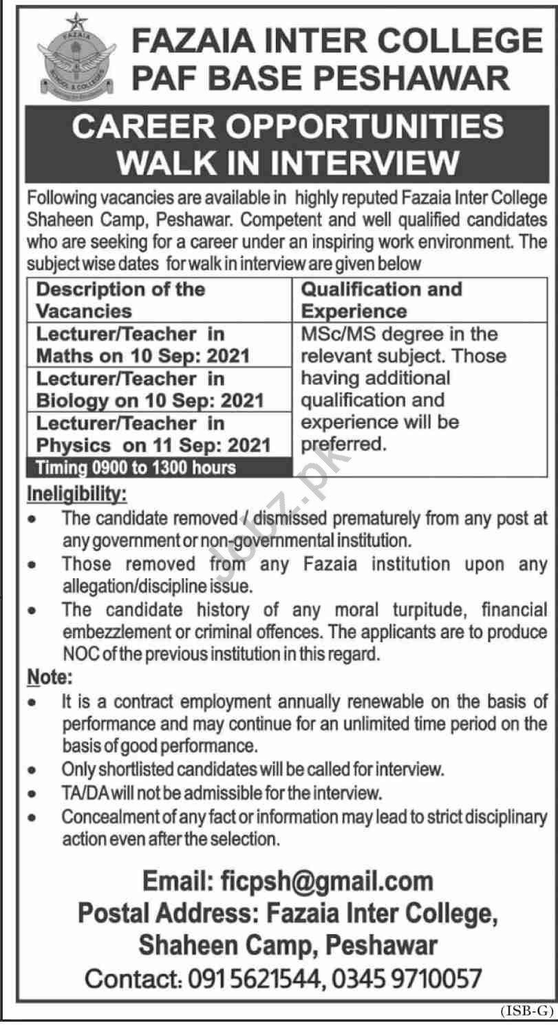 Fazaia Inter College PAF Base Peshawar Jobs Interview 2021