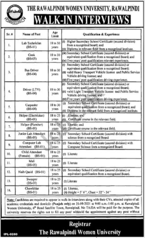 The Rawalpindi Women University RWU Jobs 2021 for Technician